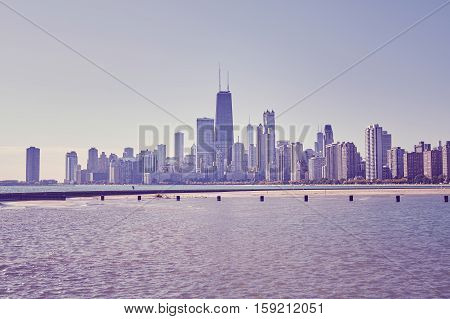 Retro Toned Photo Of Chicago City Downtown Skyline, Usa