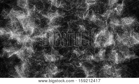 Wavy abstract motion background. White background particles