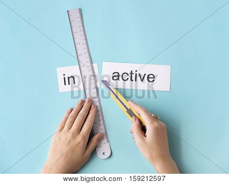 Inactive Unavailable Hand Cut Words Split Concept
