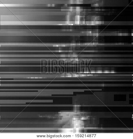 Glitched abstract vector background made of black color pixel mosaic. Digital decay, signal error, television signal fail. Colorful trendy design for print poster, brochure cover, website and other design projects.