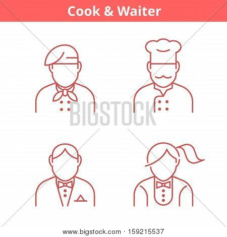 Occupations avatar set: cook chef waiter baker. Flat line professions userpic collection. Vector thin outline icons for profiles web design social networks and infographics.