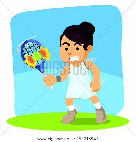 female tennis player hit the ball illustration design