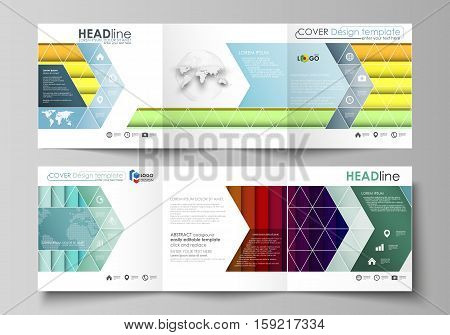 Set of business templates for tri fold brochures. Square design. Leaflet cover, abstract flat layout, easy editable vector. Bright color rectangles, colorful design with overlapping geometric rectangular shapes forming abstract beautiful background.