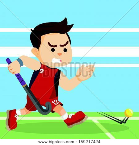 field hockey player running catching ball illustration design