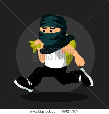 thief man fled eps10 vector illustration design