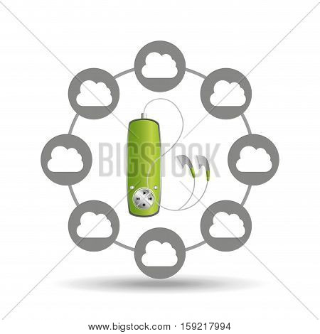 music cloud connection green mp3 graphic vector illustration eps 10
