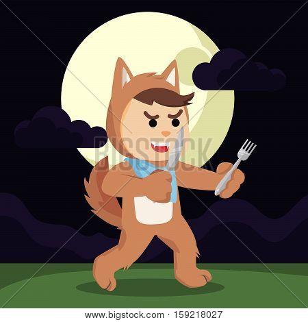 werewolf hungry holding knife and fork illustration design
