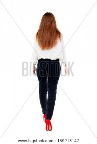 walking redhead business woman. back view. going young girl in  suit. Rear view people collection.  back side view of person.  Isolated over white background. poster