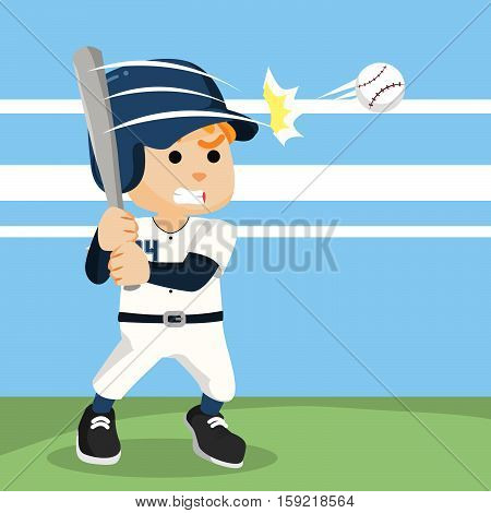 baseball player hitting ball eps10 vector illustration design