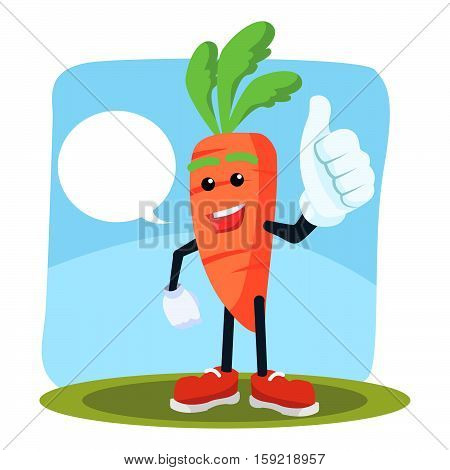 carrot man thumbs up with callout illustration design