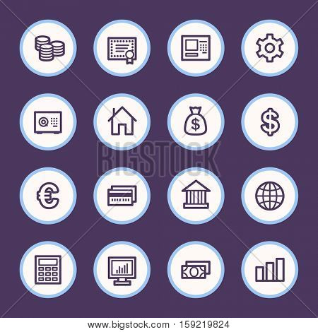 Money Web Icons, circle buttons, infographics symbols.