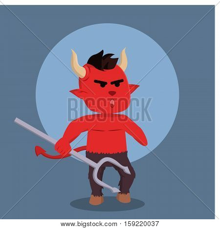 devil angry holding hell fork illustration design