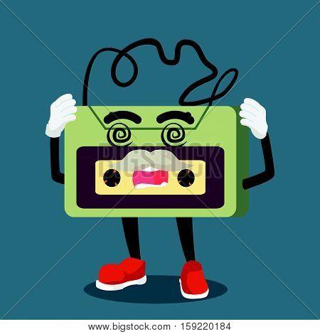 old audio tape dizzy eps10 vector illustration design