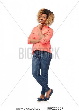 people, race, ethnicity and portrait concept - happy african american young woman over white