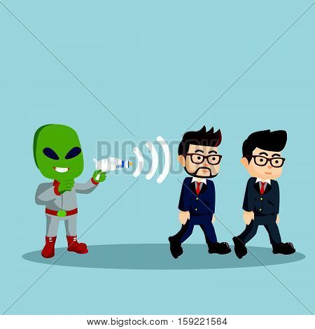 alien control human with his gun illustration design