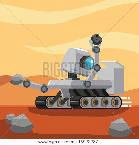 mars rover robot collecting stone sample illustration design