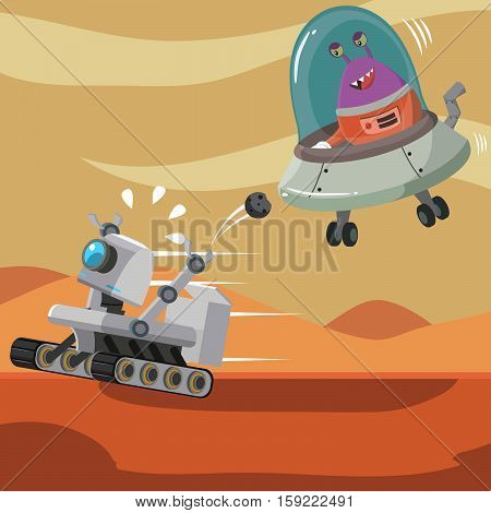 hover robot being chased by alien with ufo