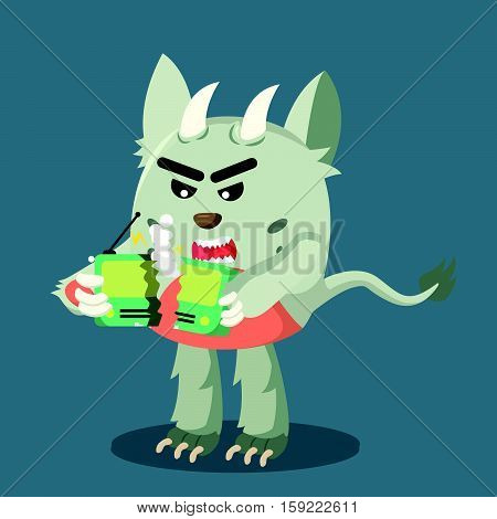 grumpy monster angry radio broken illustration design