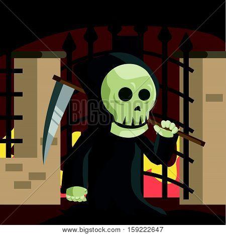 grim reaper guarding hell gate illustration design