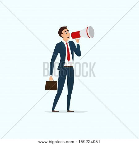 Businessman with loudspeaker. Human speaks in the megaphone. Person stands on one place. Vector illustration. Business concept isolated on white background.