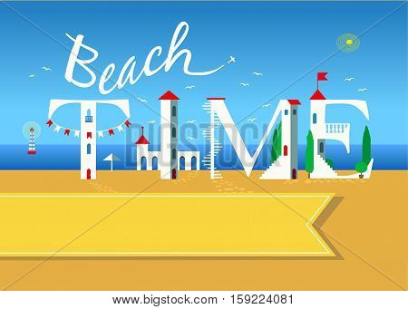 Beach time. Travel card. White buildings on the summer beach. Yellow banner for custom text. Plane in the sky.
