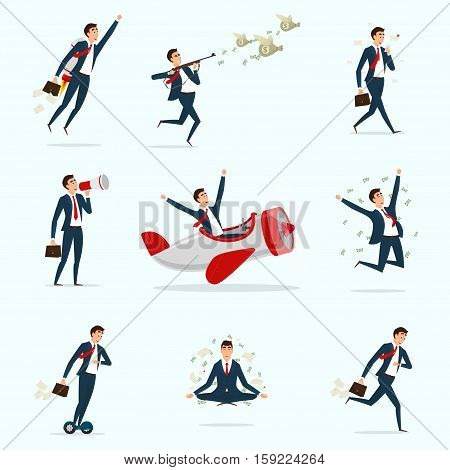 Set of businessmen in different situations. Collection of successful men. Person moving to the success. Collection of business concepts isolated on light background. Vector illustration.