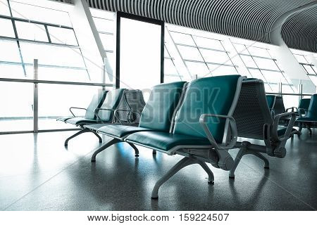 French Windows Of The Airport Terminal Chairs