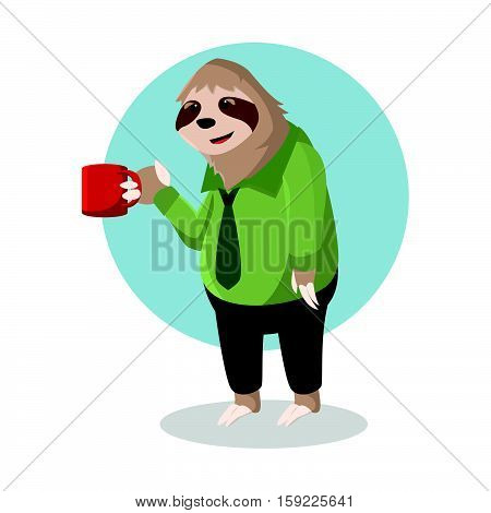 sloth office holding glass vector illustration design