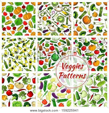 Vector seamless vegetarian vegetables patterns background. Fresh organic cabbage and pumpkin, olive, cauliflower, garlic, cucumber and tomato, pepper, potato and broccoli, daikon radish and corn, zucchini and asparagus, squash, eggplant