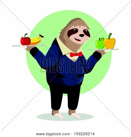 sloth waiter holding fruit delivery vector illustration design