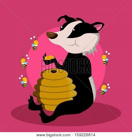 honey badger eating honey vector illustration design