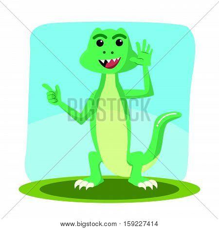 lizard character cartoon eps10 vector illustration design