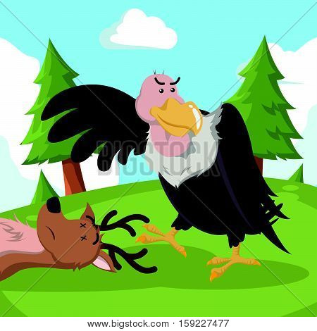 vulture and its prey eps10 vector illustration design