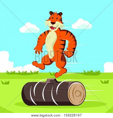 tiger doing acrobatic move eps10 vector illustration design