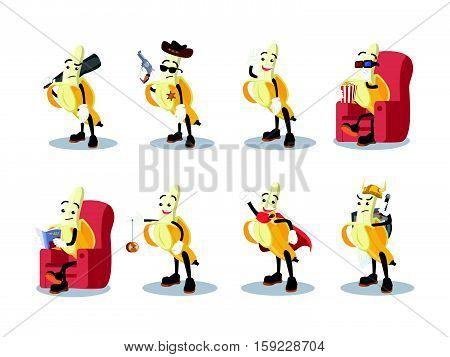 banana man cartoon set eps10 vector illustration design