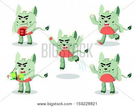 grumpy monster set eps10 vector illustration design