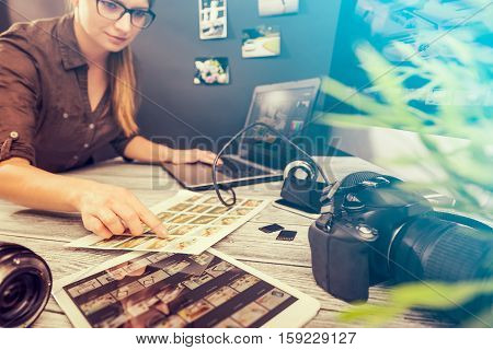 photographer journalist camera traveling photo dslr editing edit hobbies lighting business designer concept - stock image