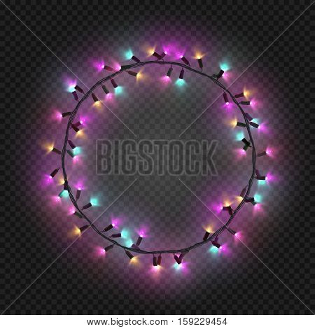 Christmas and New year realistic ultra violet colorful light garlands like round frame on a transparent background, vector.