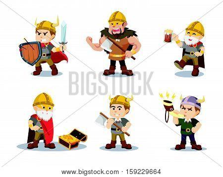 viking cartoon set eps10 vector illustration design