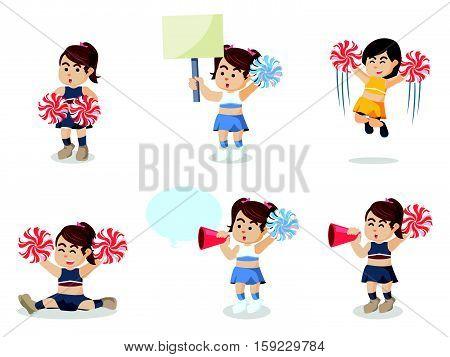 cheerleader cartoon set eps10 vector illustration design
