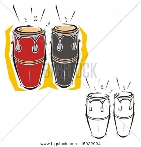 Music Instrument Series. Vector illustration of drums.