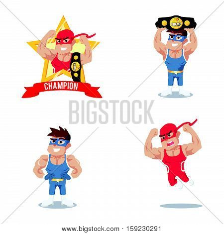 wrestler cartoon set eps10 vector illustration design