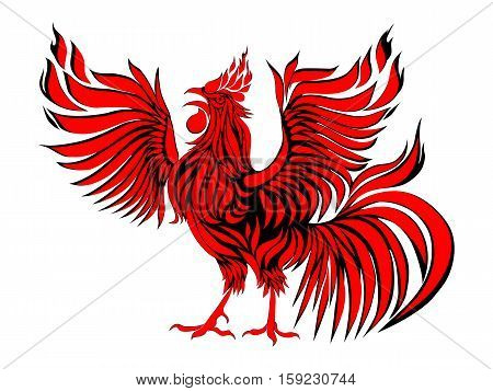 Red fire rooster as symbol of new year 2017 in Chinese calendar. Vector illustration of rooster, cock, design element for new year 2017 greeting cards.