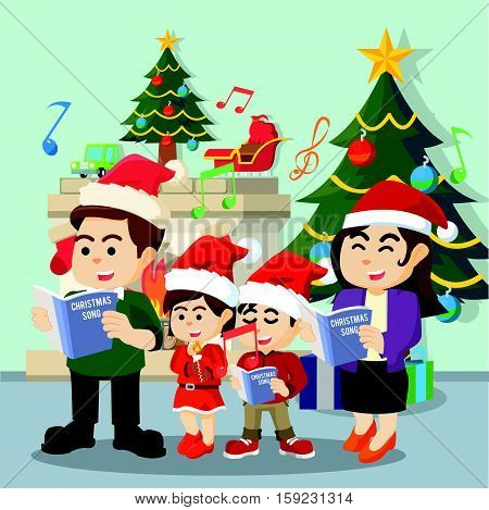 family singing christmas carol eps10 vector illustration design