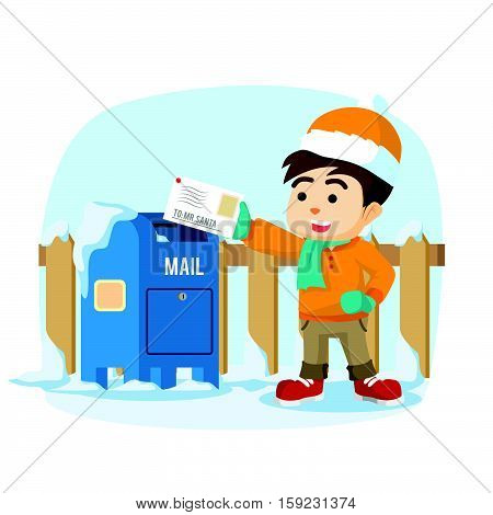 boy sending letter to santa eps10 vector illustration design