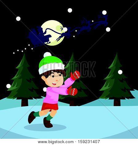 girl chasing santa eps10 vector illustration design
