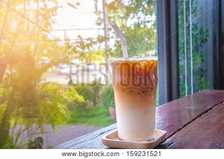 Ice Latte Macchiato Coffee In Glass