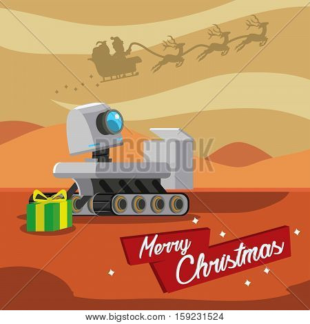 santa giving present to rover robot on mars
