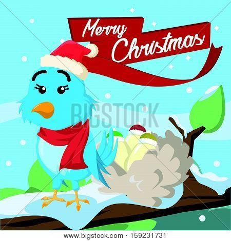 blue bird merry christmas illustration eps10 vector illustration design