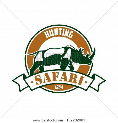 Safari Hunting club emblem. Hunting sport adventure club symbol or icon with rhino. Vector isolated round circle icon or badge with african rhinoceros in savannah and ribbon